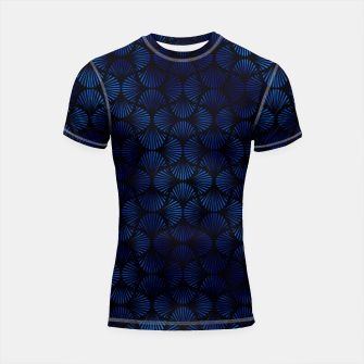 Thumbnail image of Vintage Foil Palm Fans in Classic Blue and Black Art Deco Neo Classical Pattern Shortsleeve rashguard, Live Heroes