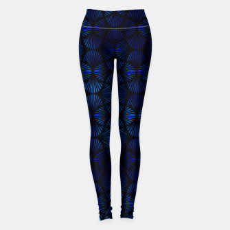 Thumbnail image of Vintage Foil Palm Fans in Classic Blue and Black Art Deco Neo Classical Pattern Leggings, Live Heroes