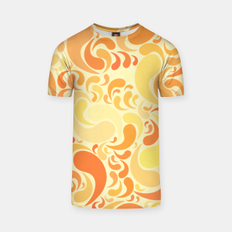 Thumbnail image of Sunset dancing drops in the air in burnt orange colors T-shirt, Live Heroes