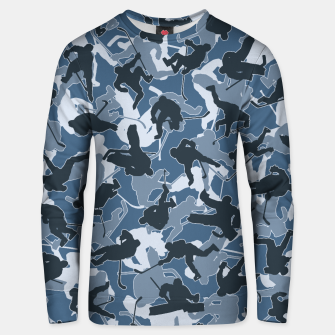 Thumbnail image of Ice Hockey Player Camo URBAN BLUE Unisex sweater, Live Heroes