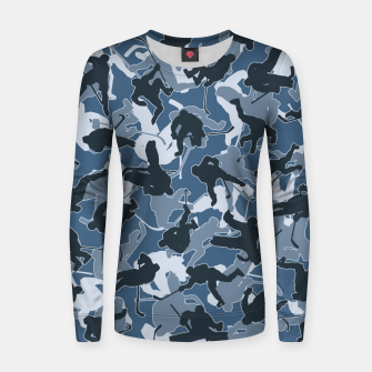 Thumbnail image of Ice Hockey Player Camo URBAN BLUE Women sweater, Live Heroes