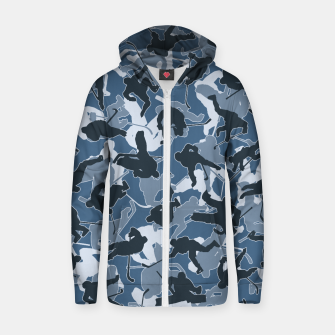 Thumbnail image of Ice Hockey Player Camo URBAN BLUE Zip up hoodie, Live Heroes