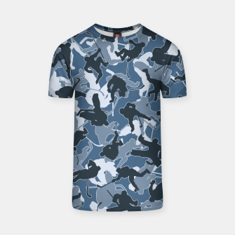 Thumbnail image of Ice Hockey Player Camo URBAN BLUE T-shirt, Live Heroes