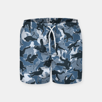 Thumbnail image of Ice Hockey Player Camo URBAN BLUE Swim Shorts, Live Heroes