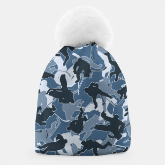 Thumbnail image of Ice Hockey Player Camo URBAN BLUE Beanie, Live Heroes