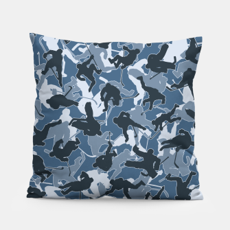 Thumbnail image of Ice Hockey Player Camo URBAN BLUE Pillow, Live Heroes