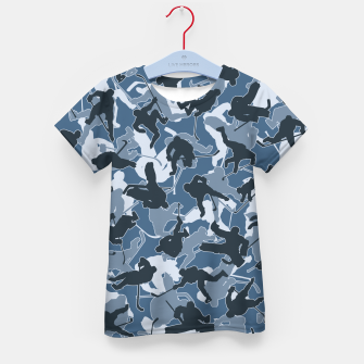 Thumbnail image of Ice Hockey Player Camo URBAN BLUE Kid's t-shirt, Live Heroes