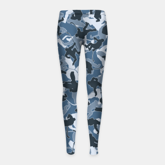 Thumbnail image of Ice Hockey Player Camo URBAN BLUE Girl's leggings, Live Heroes