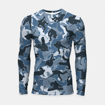 Thumbnail image of Ice Hockey Player Camo URBAN BLUE Longsleeve rashguard , Live Heroes