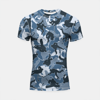 Thumbnail image of Ice Hockey Player Camo URBAN BLUE Shortsleeve rashguard, Live Heroes