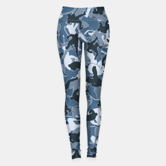 Thumbnail image of Ice Hockey Player Camo URBAN BLUE Leggings, Live Heroes