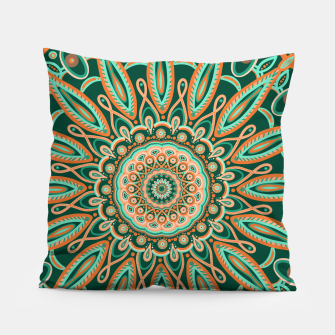 Thumbnail image of Boho-chic Mandala - AQUA - GREEN - TERRA Pillow, Live Heroes