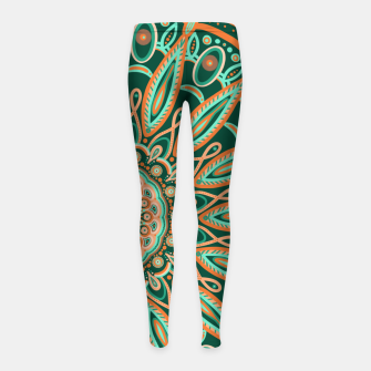 Thumbnail image of Boho-chic Mandala - AQUA - GREEN - TERRA Girl's leggings, Live Heroes