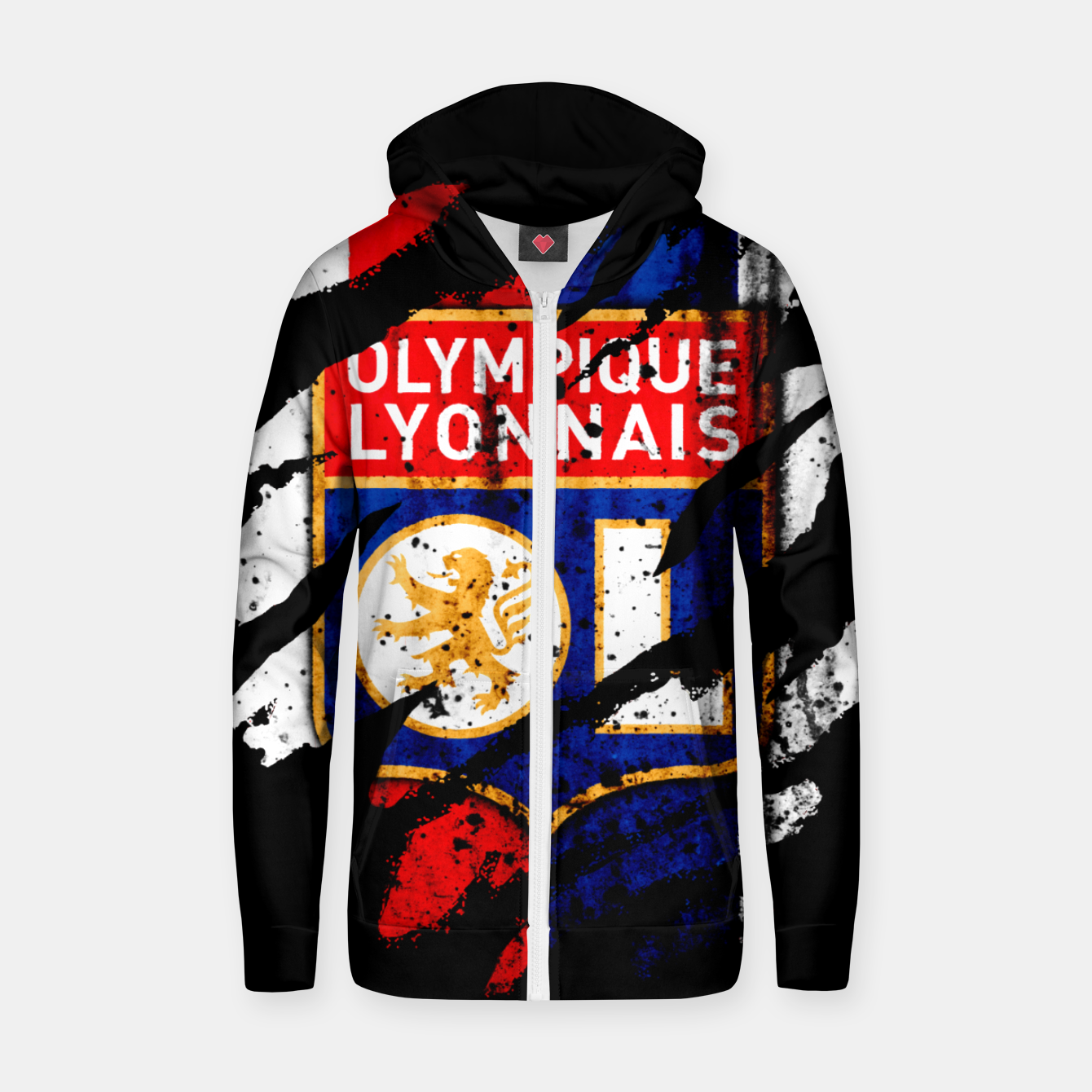 Image of Olympique Lyonnais France Football Club Lyon Fans Zip up hoodie - Live Heroes