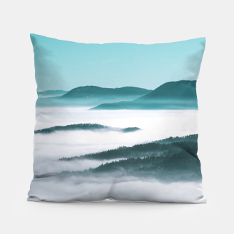 Thumbnail image of Layers of hills, fog and trees Pillow, Live Heroes