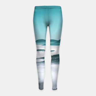 Thumbnail image of Layers of hills, fog and trees Girl's leggings, Live Heroes