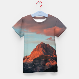 Thumbnail image of Last light of sun on mountain Mangart, Slovenia Kid's t-shirt, Live Heroes