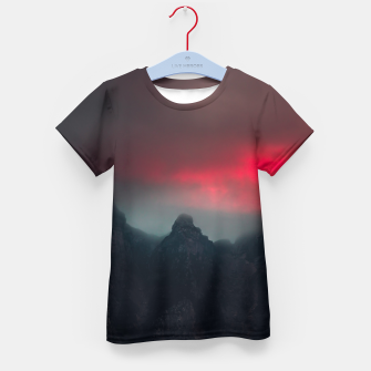 Thumbnail image of Burning clouds, fog and mountains Kid's t-shirt, Live Heroes