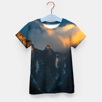 Thumbnail image of Last breath of sun shining on majestic mountains Kid's t-shirt, Live Heroes