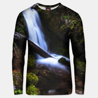 Thumbnail image of Waterfall in enchanted forest Unisex sweater, Live Heroes