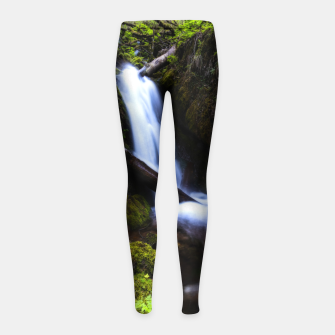 Thumbnail image of Waterfall in enchanted forest Girl's leggings, Live Heroes