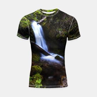Thumbnail image of Waterfall in enchanted forest Shortsleeve rashguard, Live Heroes