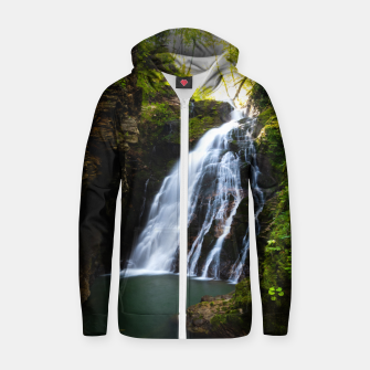 Miniatur Stuning waterfall with sunlight glow Zip up hoodie, Live Heroes