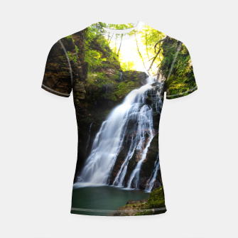 Miniatur Stuning waterfall with sunlight glow Shortsleeve rashguard, Live Heroes