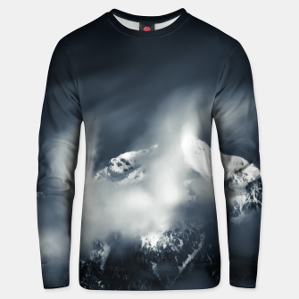 Thumbnail image of Darkness and chaos over the mountain Unisex sweater, Live Heroes