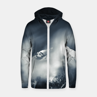 Thumbnail image of Darkness and chaos over the mountain Zip up hoodie, Live Heroes