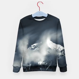 Thumbnail image of Darkness and chaos over the mountain Kid's sweater, Live Heroes