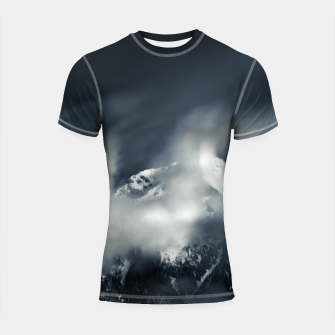 Thumbnail image of Darkness and chaos over the mountain Shortsleeve rashguard, Live Heroes
