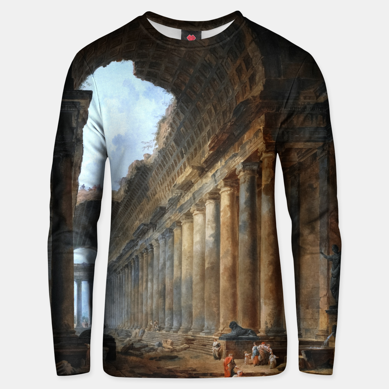 Image of The Old Temple by Hubert Robert Old Masters Reproduction Unisex sweater - Live Heroes