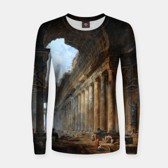 Thumbnail image of The Old Temple by Hubert Robert Old Masters Reproduction Women sweater, Live Heroes