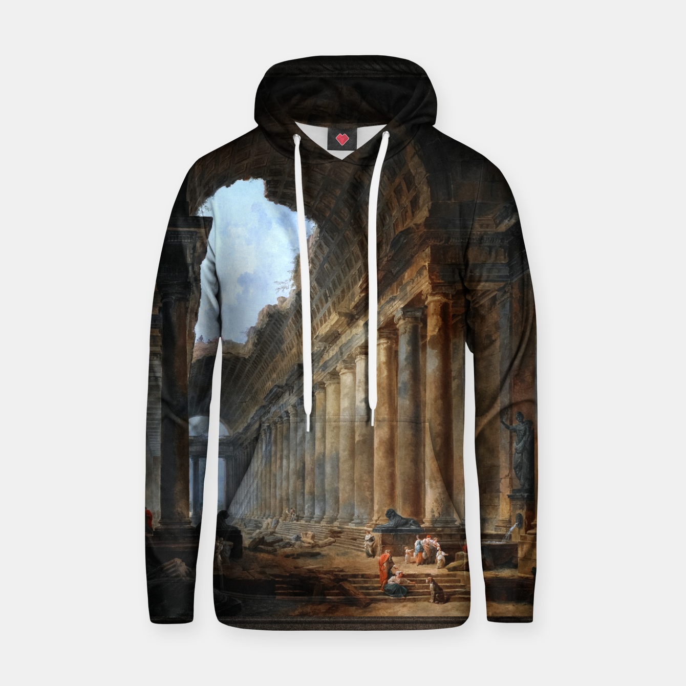 Zdjęcie The Old Temple by Hubert Robert Old Masters Reproduction Hoodie - Live Heroes