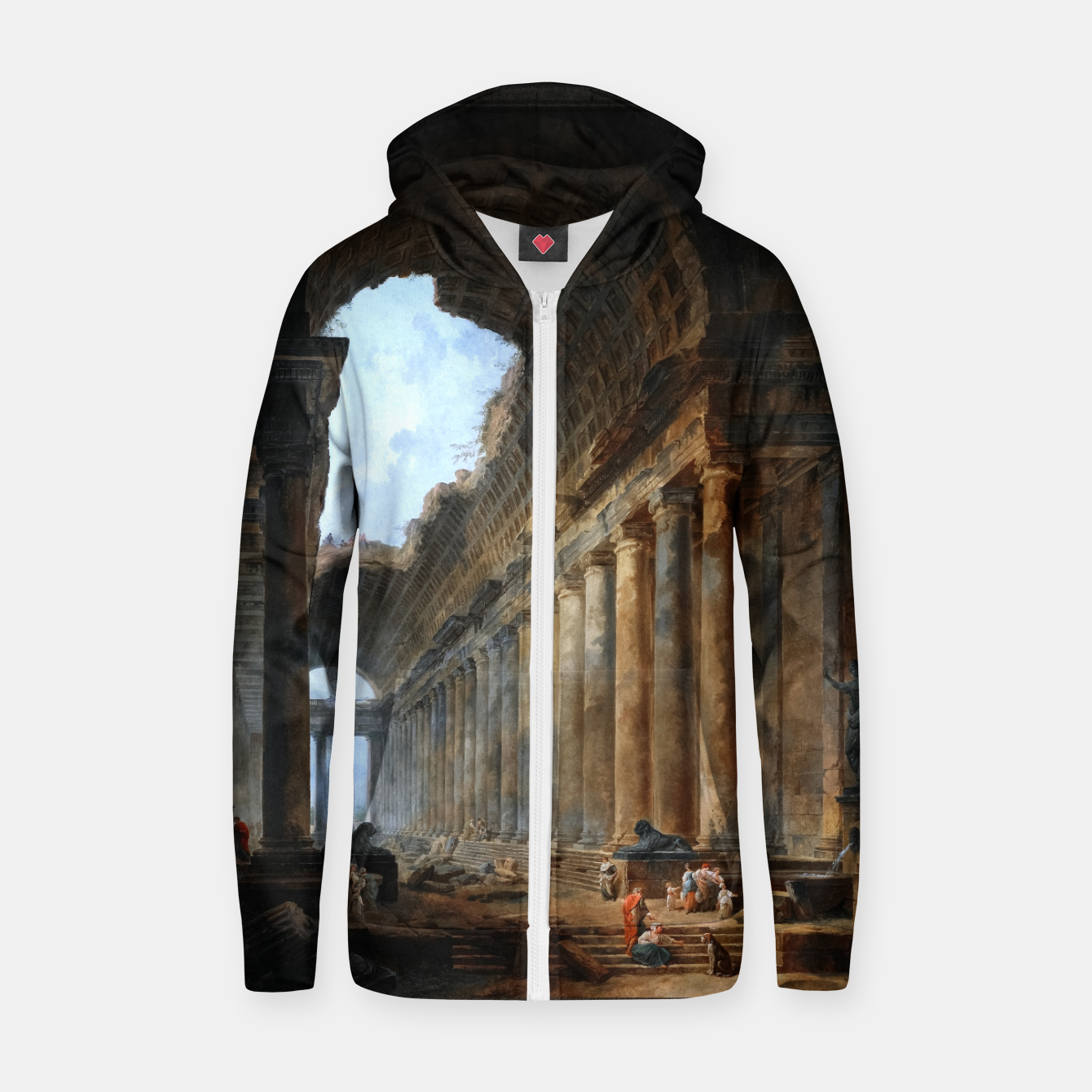 Zdjęcie The Old Temple by Hubert Robert Old Masters Reproduction Zip up hoodie - Live Heroes