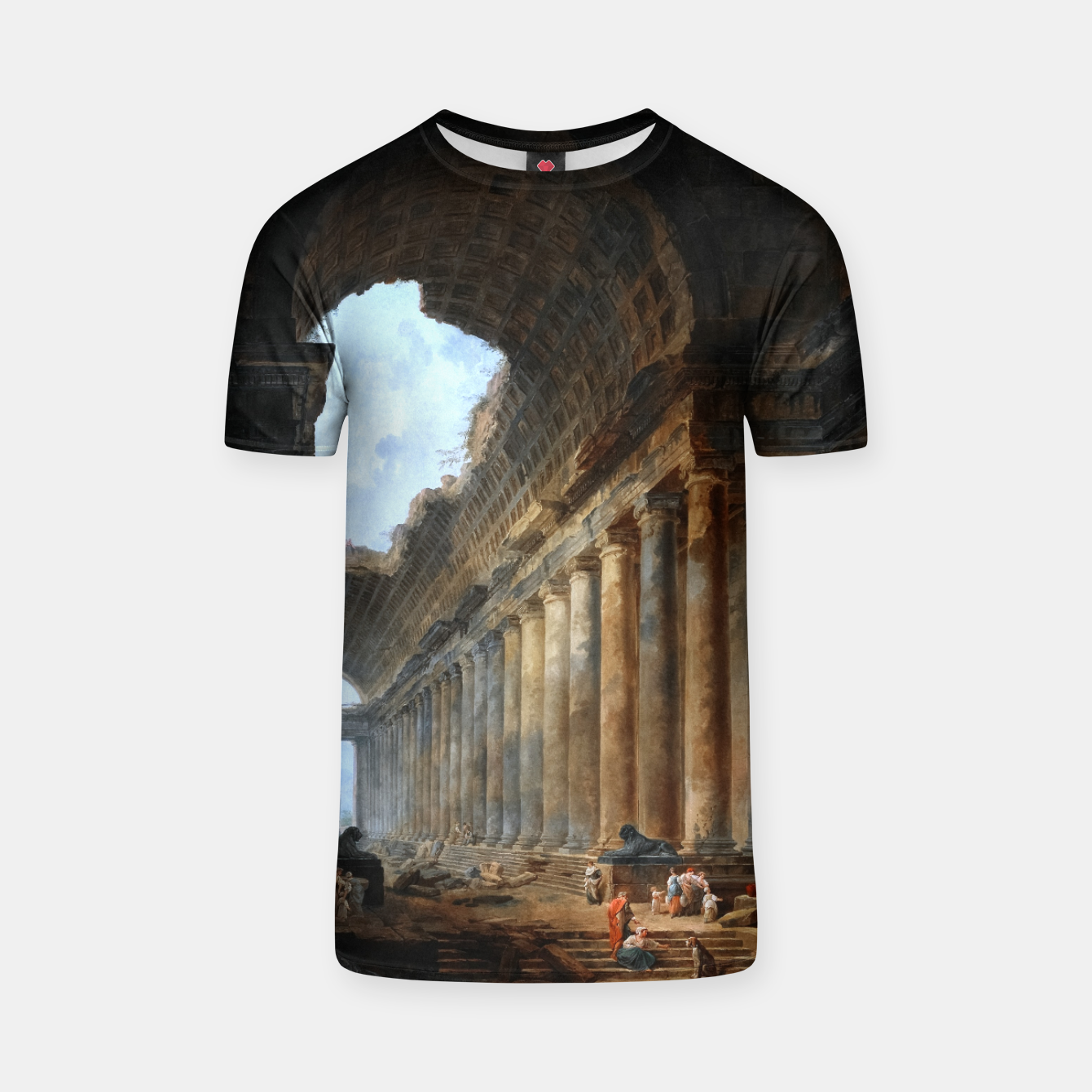 Image of The Old Temple by Hubert Robert Old Masters Reproduction T-shirt - Live Heroes