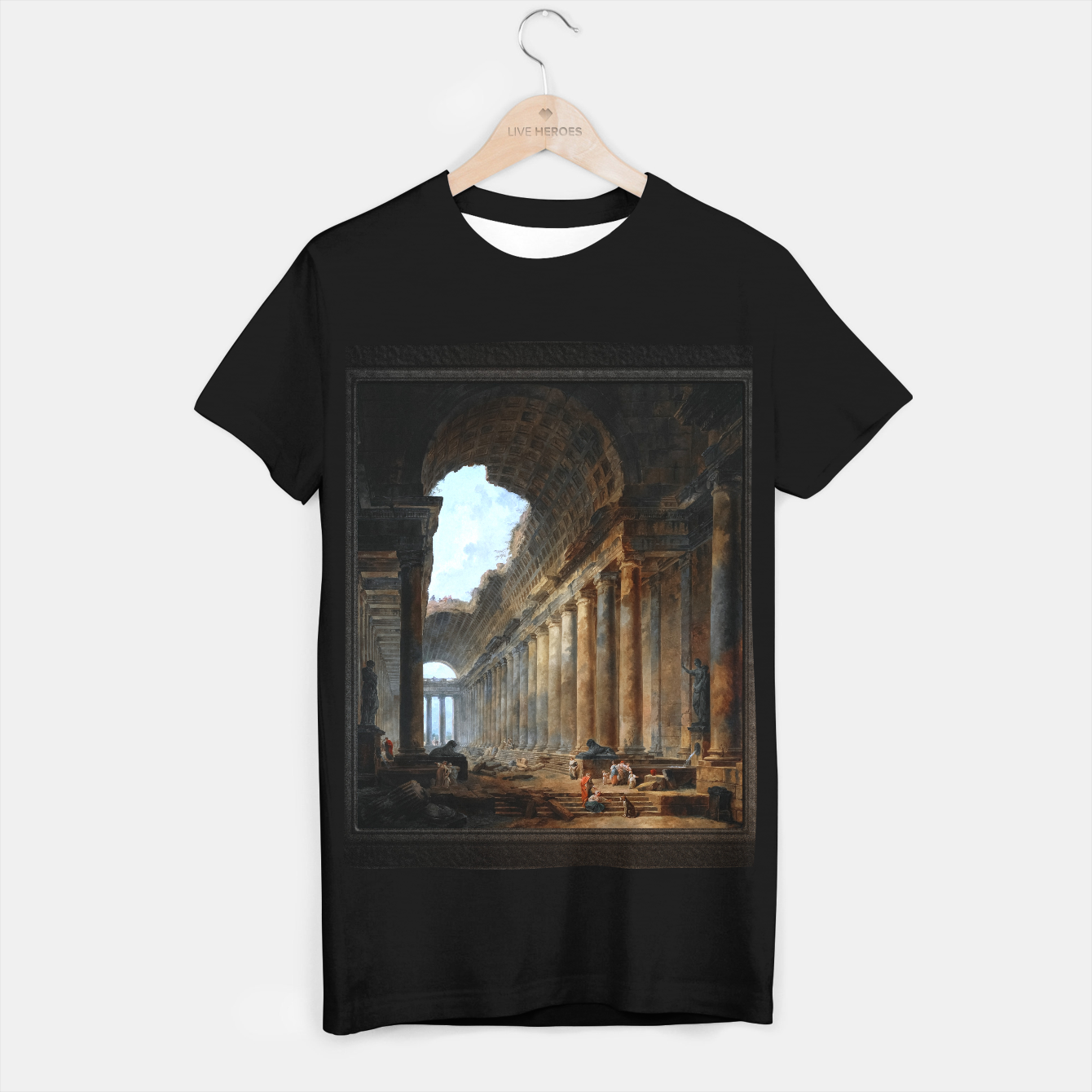 Zdjęcie The Old Temple by Hubert Robert Old Masters Reproduction T-shirt regular - Live Heroes
