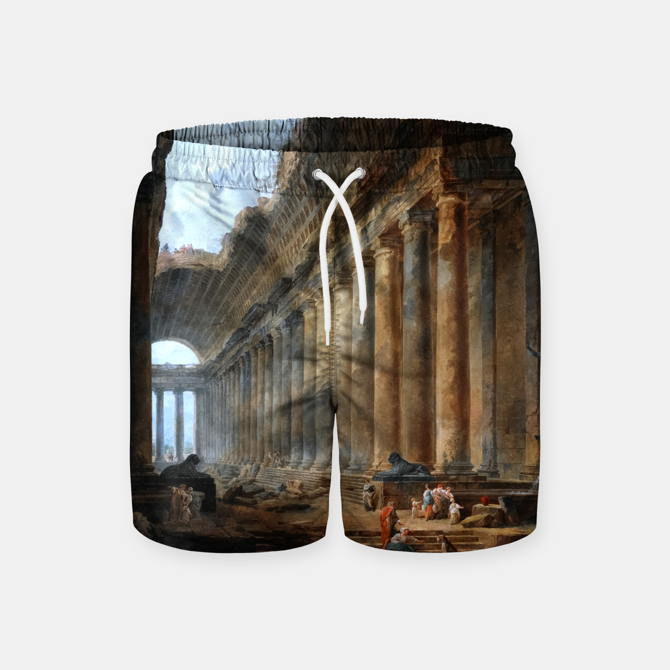 Image of The Old Temple by Hubert Robert Old Masters Reproduction Swim Shorts - Live Heroes