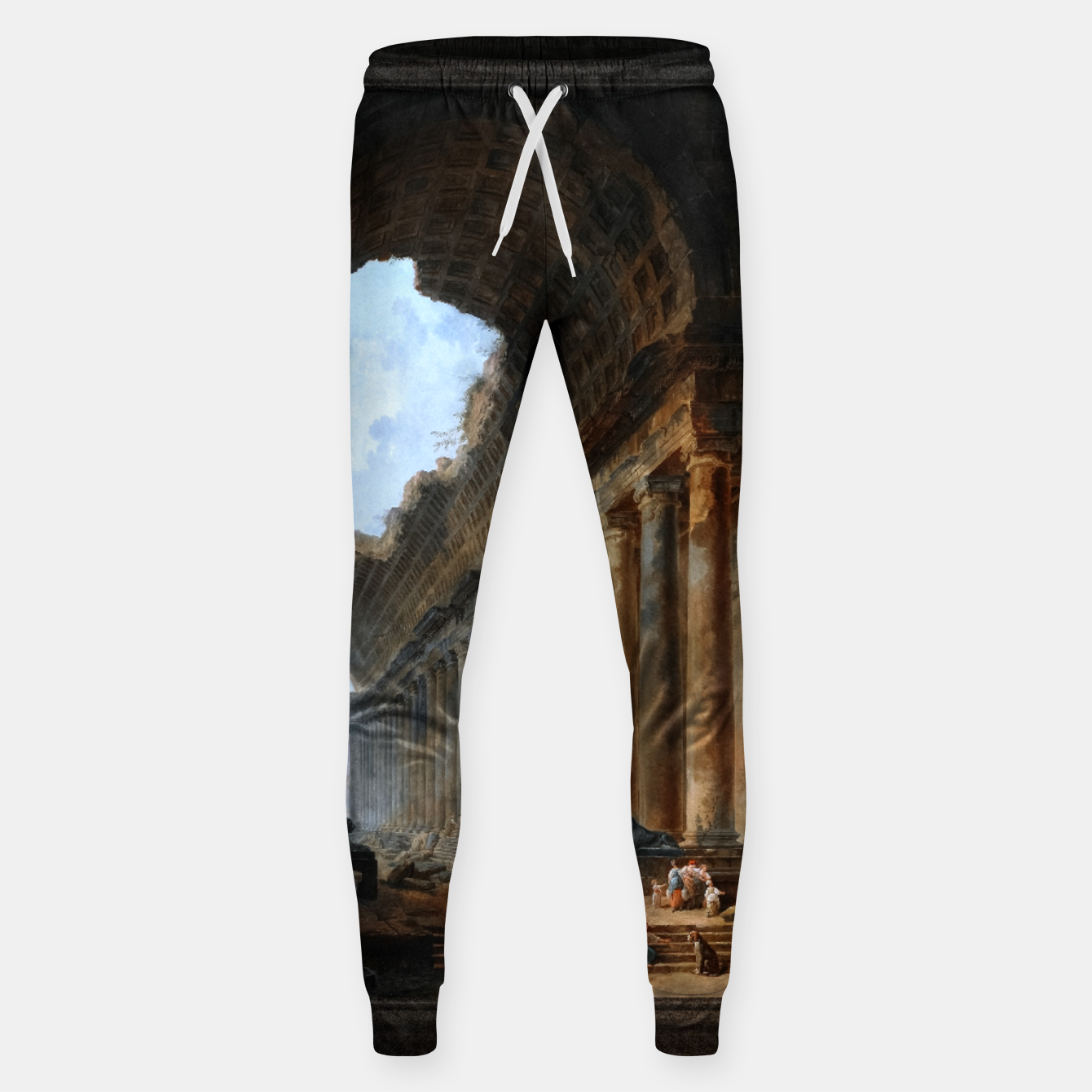 Image of The Old Temple by Hubert Robert Old Masters Reproduction Sweatpants - Live Heroes