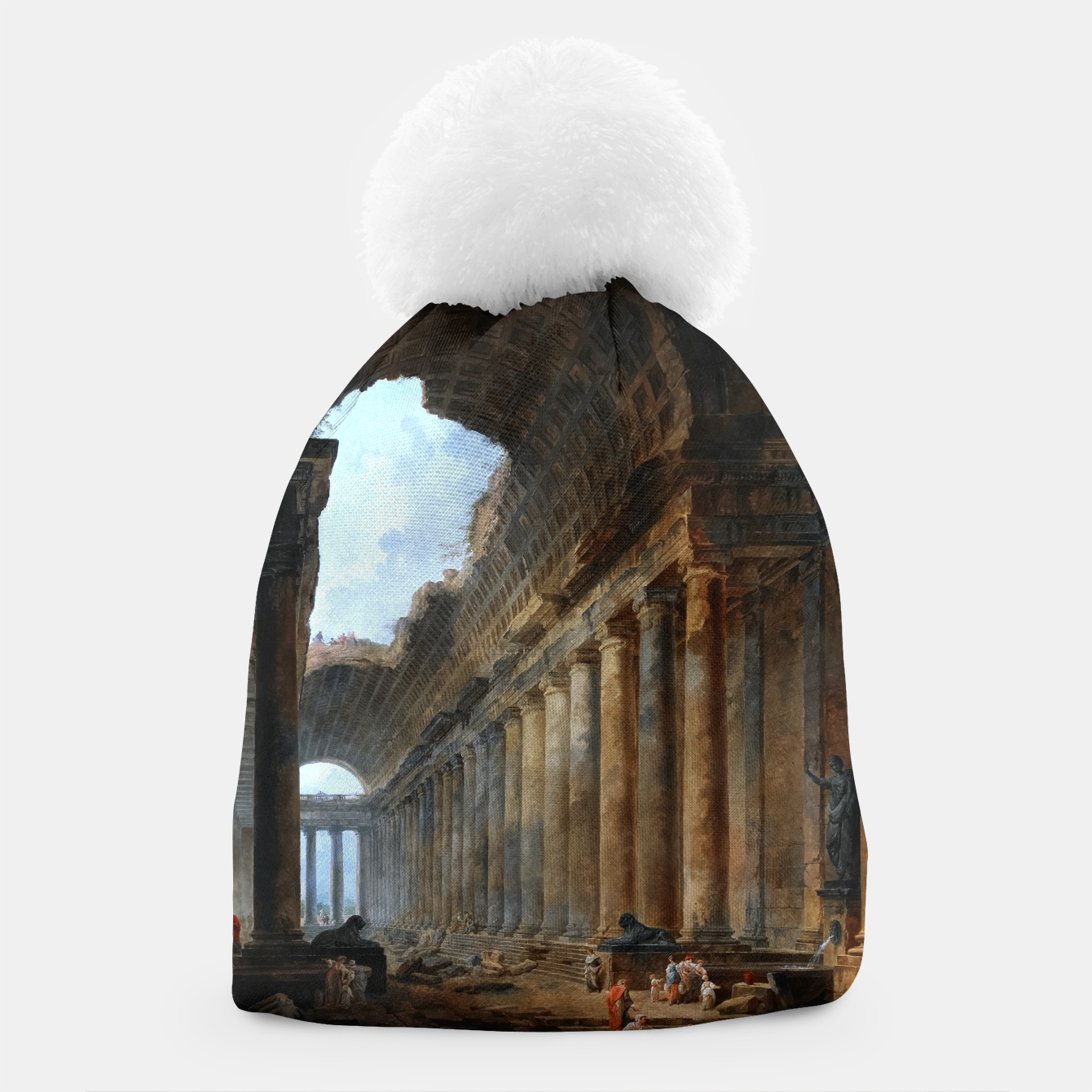 Image of The Old Temple by Hubert Robert Old Masters Reproduction Beanie - Live Heroes