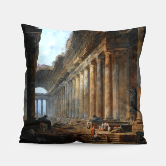 Thumbnail image of The Old Temple by Hubert Robert Old Masters Reproduction Pillow, Live Heroes