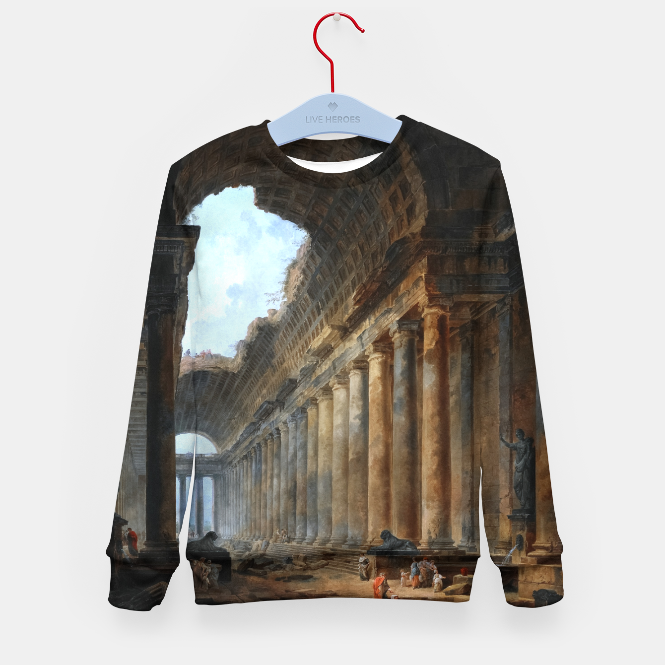Image of The Old Temple by Hubert Robert Old Masters Reproduction Kid's sweater - Live Heroes