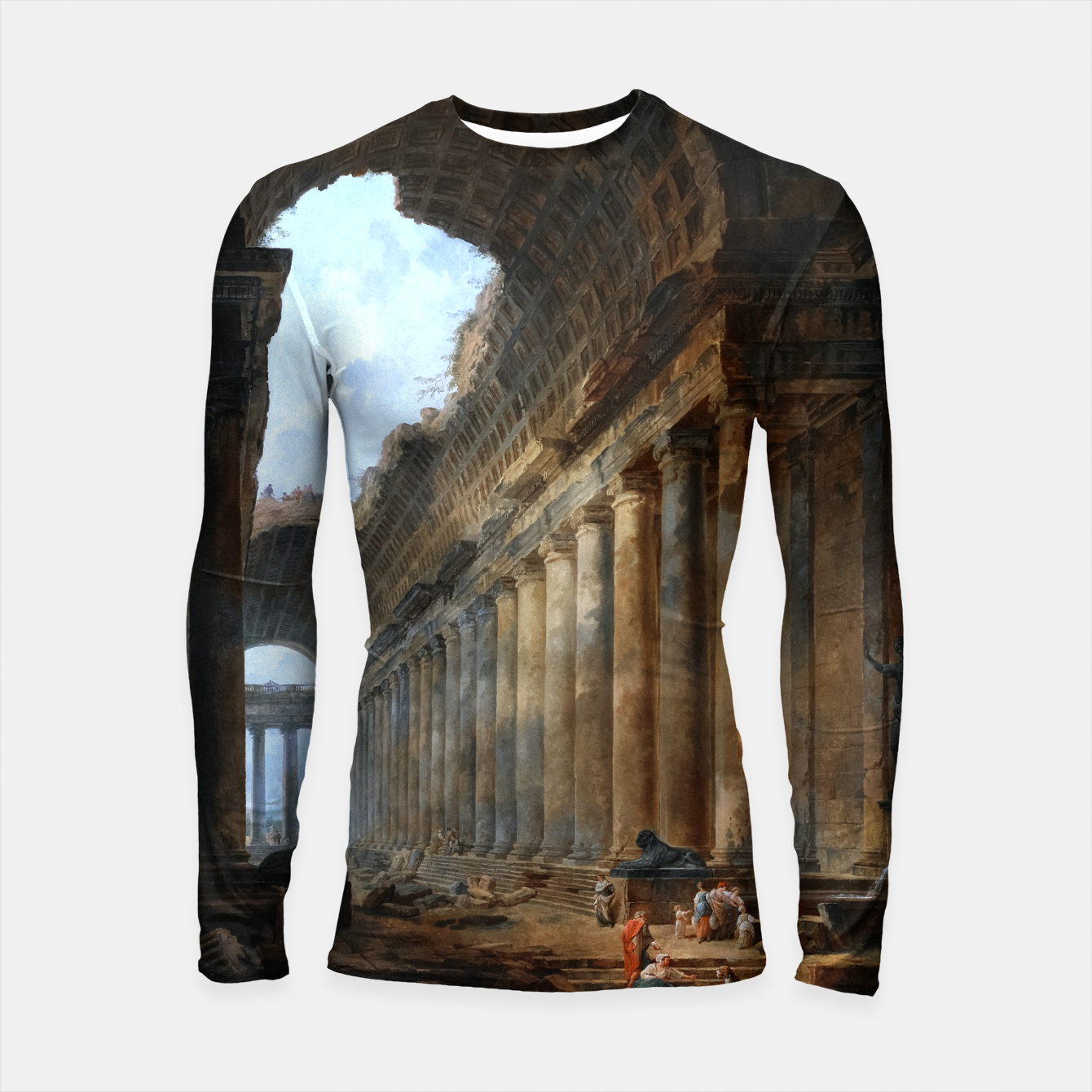 Image of The Old Temple by Hubert Robert Old Masters Reproduction Longsleeve rashguard  - Live Heroes