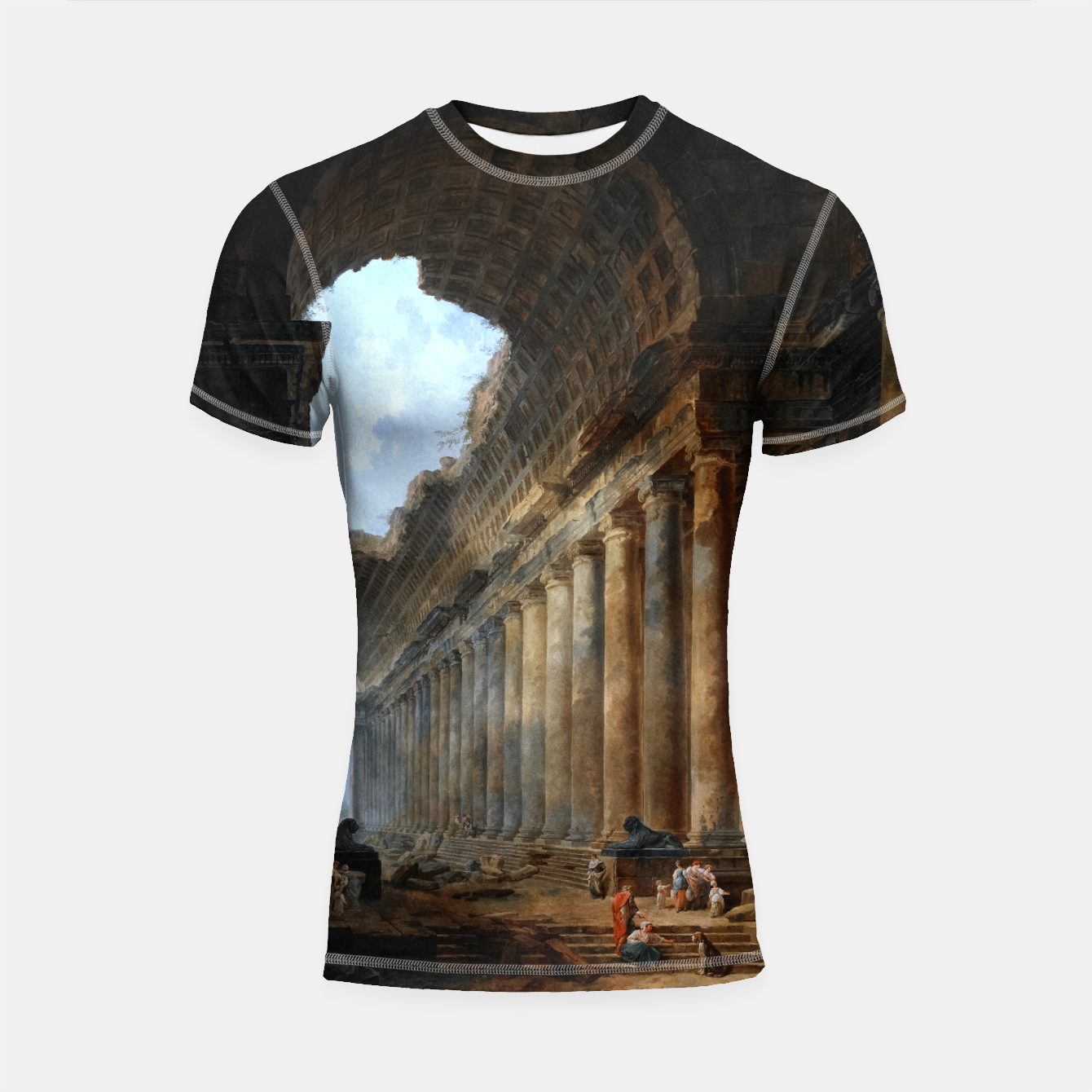 Image of The Old Temple by Hubert Robert Old Masters Reproduction Shortsleeve rashguard - Live Heroes