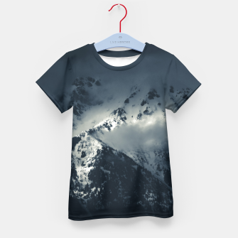 Thumbnail image of Darkness and clouds over the mountains Kid's t-shirt, Live Heroes