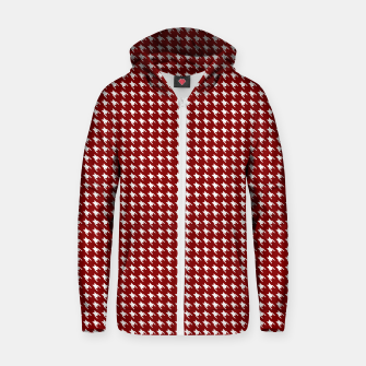 Thumbnail image of Dark Christmas Candy Apple Red Houndstooth Check Zip up hoodie, Live Heroes