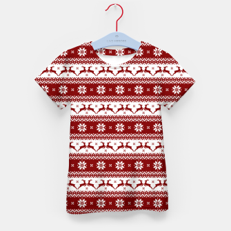 Thumbnail image of Dark Christmas Candy Apple Red Nordic Reindeer Stripe Kid's t-shirt, Live Heroes