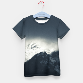 Thumbnail image of Darkness and light on snow covered mountains Kid's t-shirt, Live Heroes
