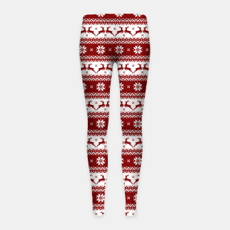 Thumbnail image of Dark Christmas Candy Apple Red Nordic Reindeer Stripe Girl's leggings, Live Heroes